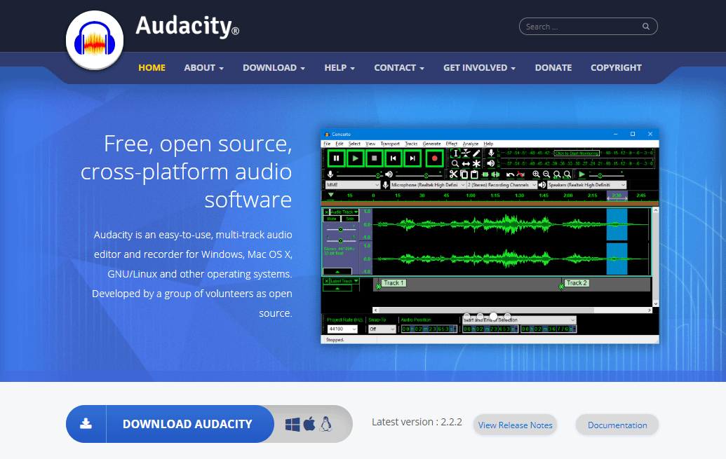 Audacity audio software for podcasts
