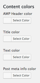 Content color settings in the Glue for Yoast SEO & AMP plugin
