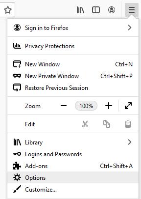Menu, Options in Firefox browser
