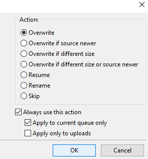 Overwrite in ftp