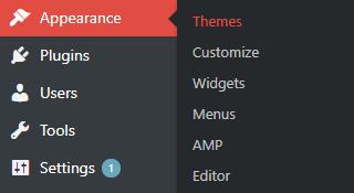 Themes area in WordPress dashboard
