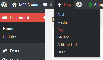 Creating a new page in WordPress dashboard