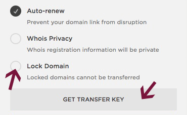 Get transfer key from Squarespace.
