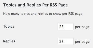 Topics replies per RSS page