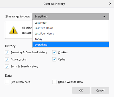 Clearing the history in Firefox.