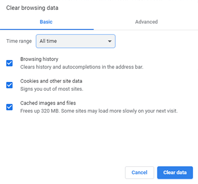 Clear browsing data popup in Chrome browser.
