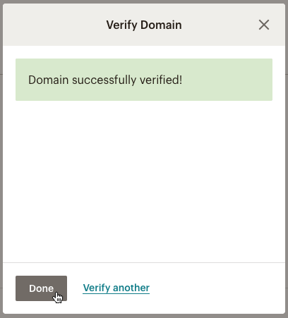 Domain successfully verified