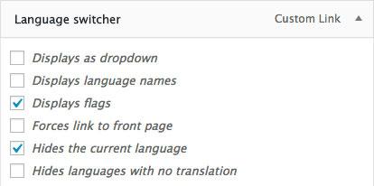 Language switcher menu item in Polylang