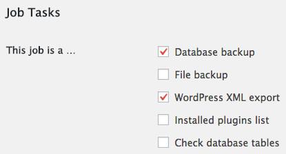 Job tasks in BackWPup