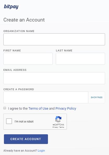 Bitpay account details