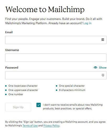 Mailchimp signup form