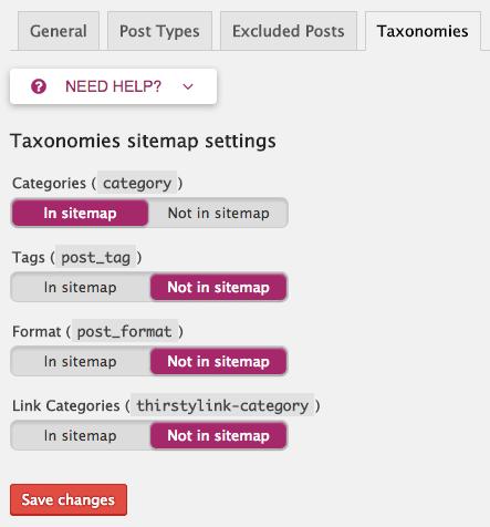 Taxonomies in XML sitemaps.