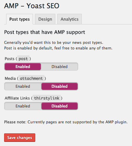 Post types in the Glue for Yoast SEO & AMP plugin