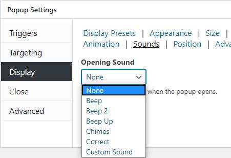 Popup maker sounds