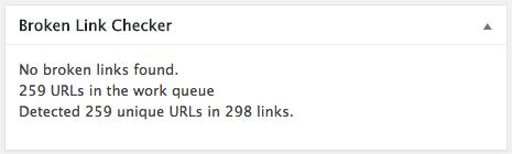 Broken Links Checker widget in WordPress dashboard.