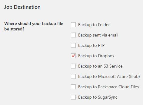 Job Destination in BackWPup general settings.
