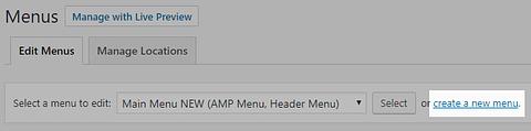 Create a new menu