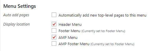 Navigation menu settings in WordPress.
