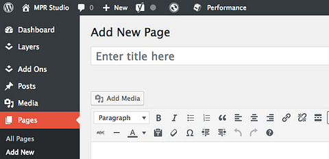 Adding a new page in WordPress dashboard