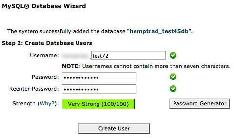 Create user for MySQL database in cPanel