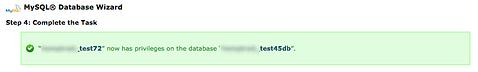 MySQL database successfully created