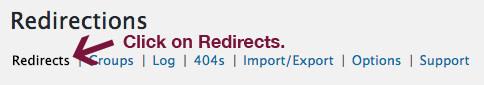 Redirections tab.