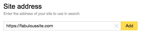 Enter site URL in Yandex Webmaster.