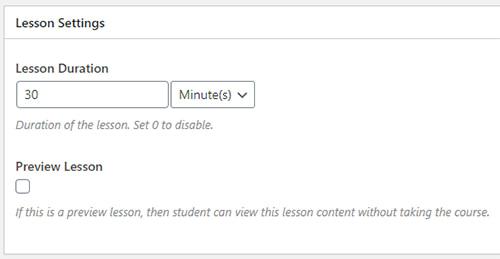 Lesson settings in LearnPress