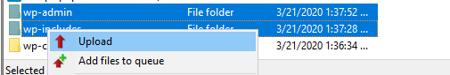 Re-uploading wp-admin and wp-includes folders.