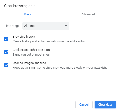 Clear data in Google Chrome browser