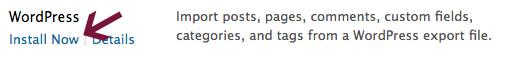 Install WordPress importer under tools.