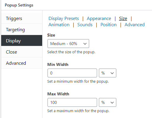 Popup size settings