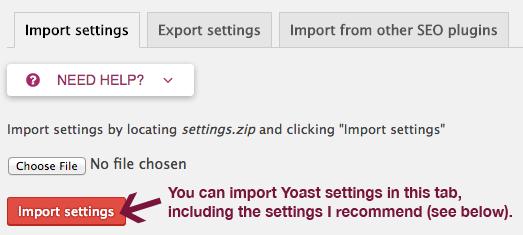 Import Yoast SEO settings.