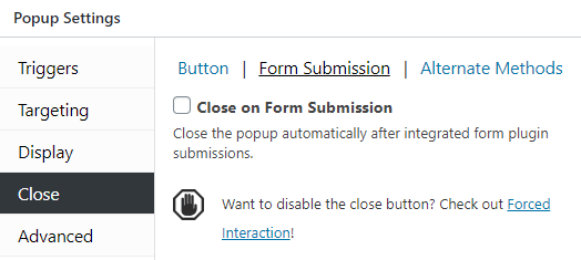Close popup on form submission