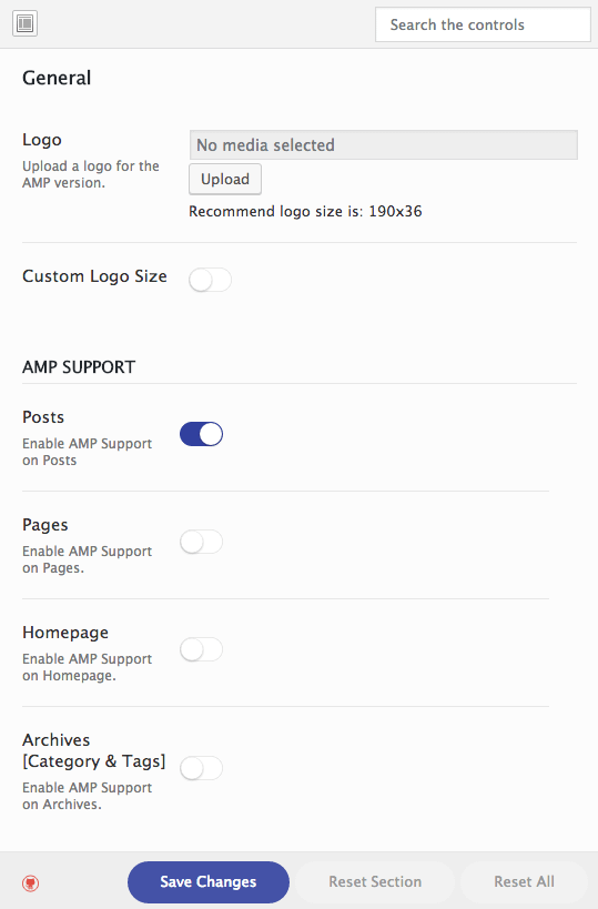 General settings in the AMP for WP plugin