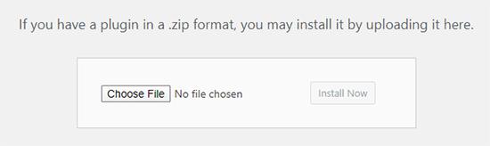 Choose File to upload a WordPress plugin