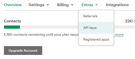API Keys in Mailchimp account