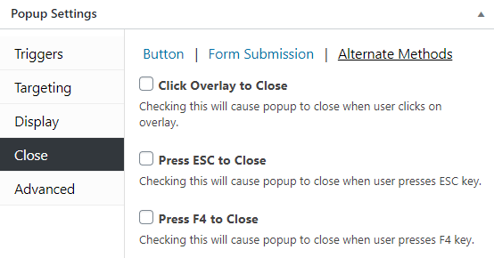 Choose alternate close methods