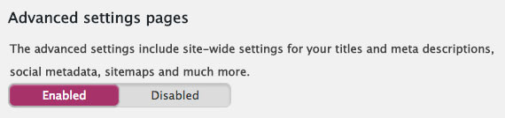Advanced settings pages enabled in Yoast SEO.