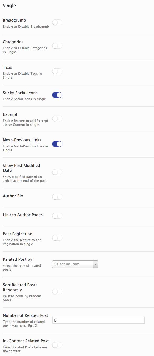 Single design settings in AMP for WP.