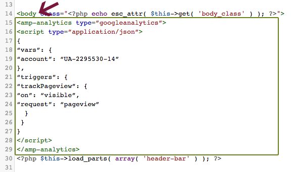 AMP analytics code added after opening body tag in single.php template.