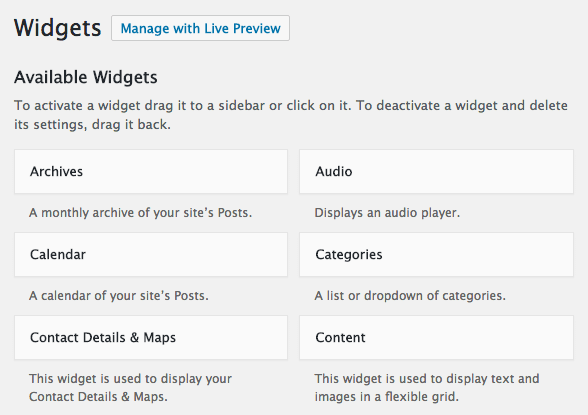Widgets in WordPress dashboard
