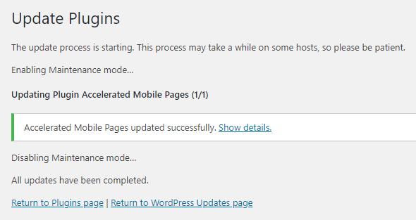 Enabling maintenance mode, updating plugin and disabling maintenance mode.