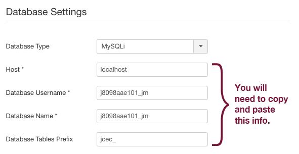 Database settings in Joomla dashboard