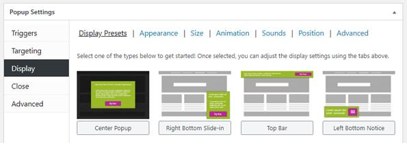 Display presets in Popup Maker
