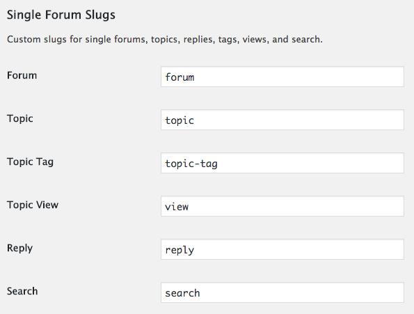 Single forum slugs in bbPress settings