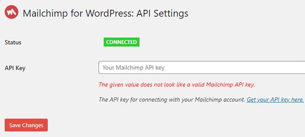 Add Mailchimp API Key in MC4WP plugin.