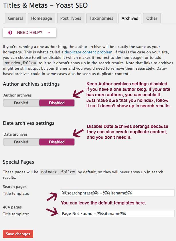 Archives settings in Yoast SEO.