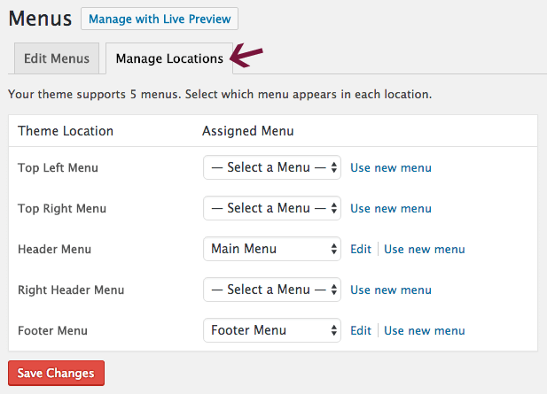 Menu Locations in WordPress dashboard