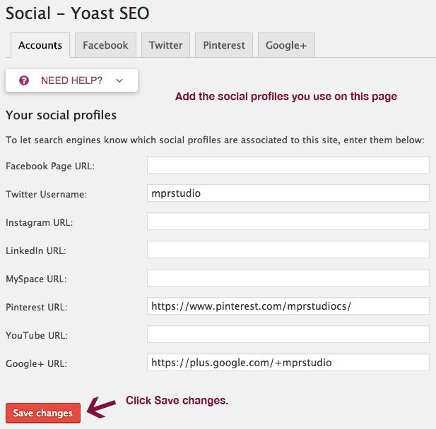 Social settings in Yoast SEO
